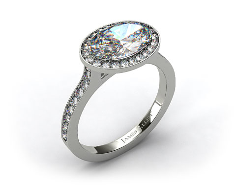 14k White Gold Pave Halo &amp; Shoulders Engagement Ring (Oval Center)